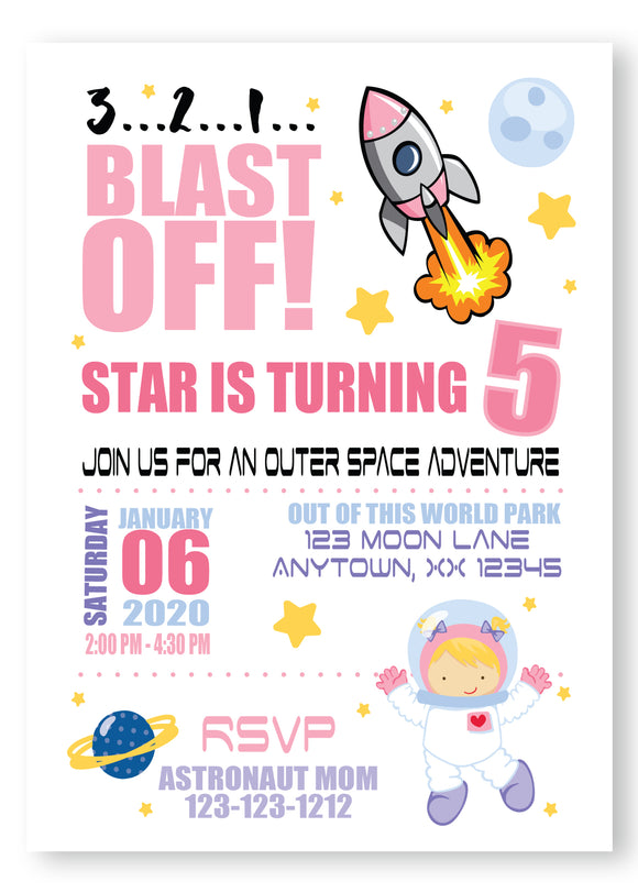 Space blast off birthday invitation, space birthday for girl