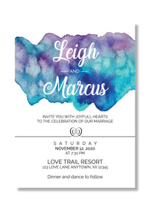 Blue Purple Watercolor Blue Splash Wedding Invitations - Invitetique