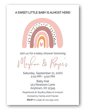 boho rainbow baby shower invitation
