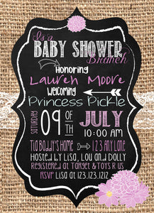 Brunch Baby Shower Burlap Lilac Invitations - Invitetique