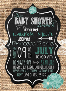 Brunch Baby Shower Burlap Teal Invitations - Invitetique