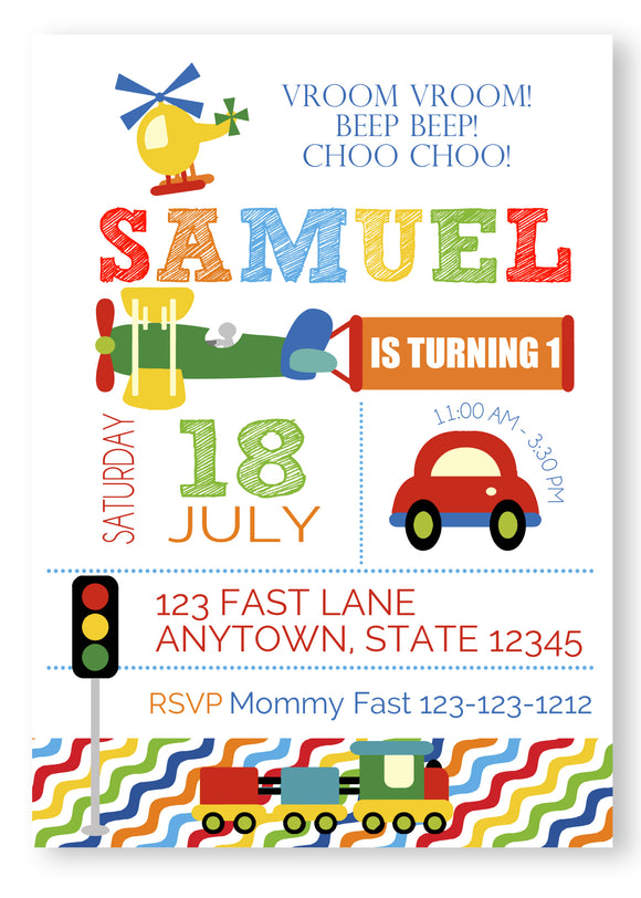 Transportation cars, truck, helipcopter Birthday Invitations - Invitetique