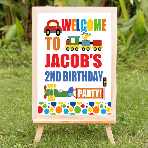 Transportation Birthday Welcome Sign - Invitetique