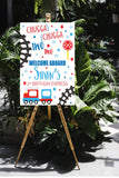 printable train chugga two two second birthday sign, signage