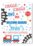 boy train chugga chugga two two welcome sign