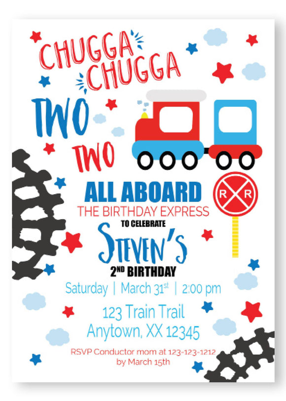 Chugga two two birthday invitations, chugga chugga birthday, personalized