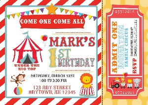 Circus Carnival Birthday Invitations - We print - Invitetique