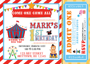 Circus Birthday Invitations - We print - Invitetique