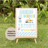 Carnival birthday welcome sign pastel