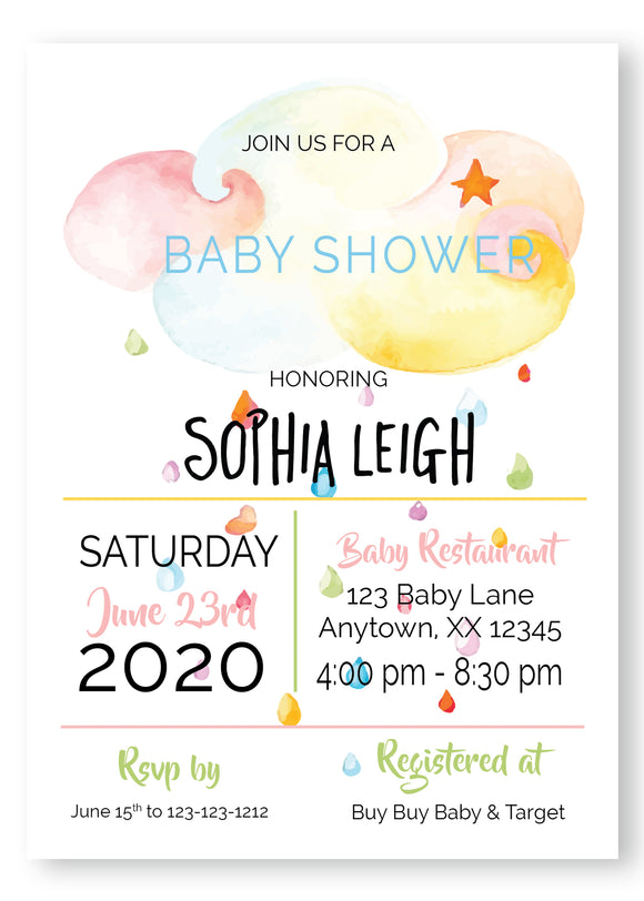 Rainbow cloud Baby Shower Invitations - Invitetique
