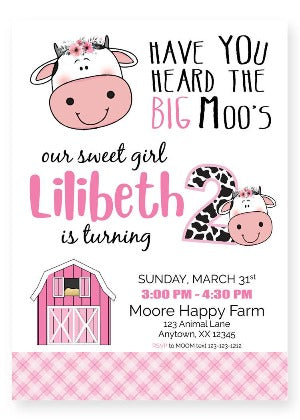 cow second birthday invitation