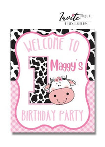 Pin cow welcome birthday sign