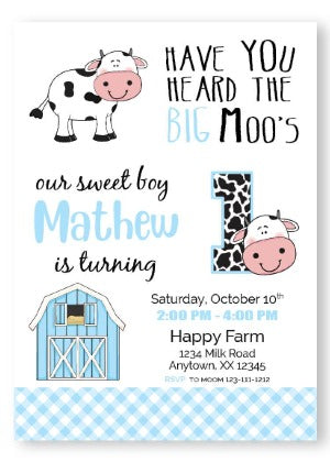 Cow Invitation - Blue