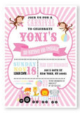 girl pink carnival invitation
