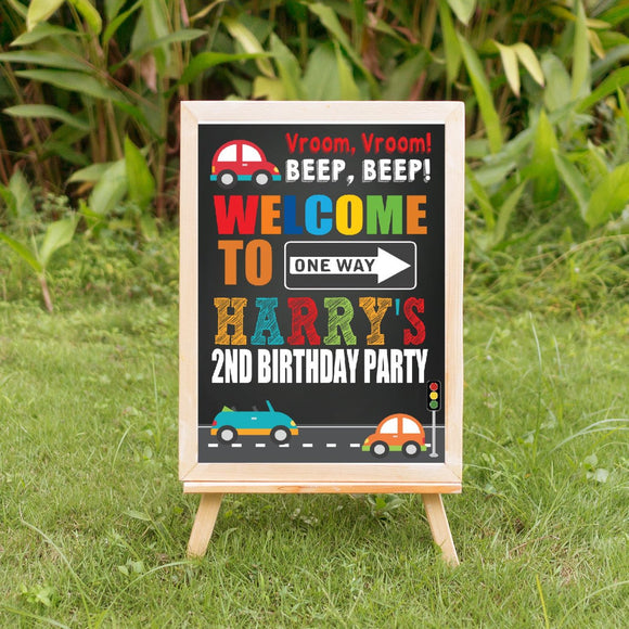 Transportation Birthday Welcome Sign - Chalk