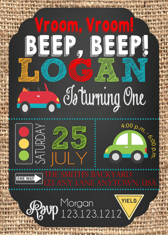 Cute Cars Transportation Birthday Invitations - Invitetique