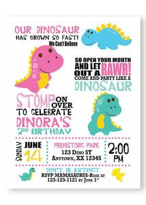 Cute Dinosaur girl Birthday invitation - Digital