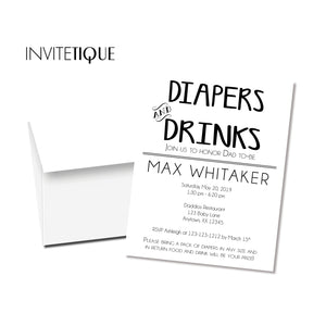 Diaper Drinks Baby Shower Invitations - Invitetique