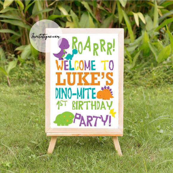 Dinosaur Welcome Birthday Sign - Invitetique