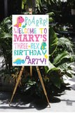 three rex birthday welcome sign