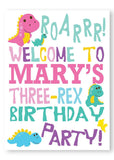 Pink dinosaur birthday welcome party sign