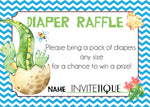 Dinosaur Diaper Raffle Tickets - Blue - Invitetique