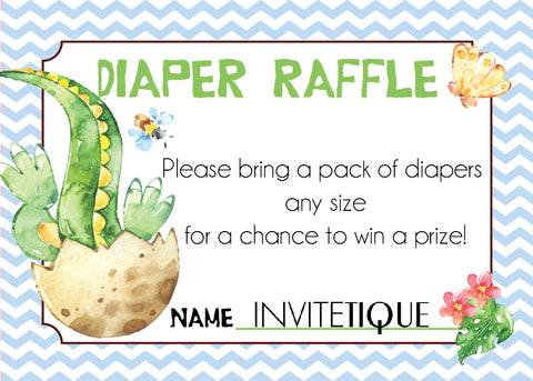 Dinosaur Diaper Raffle Tickets - Pastel Blue - Invitetique