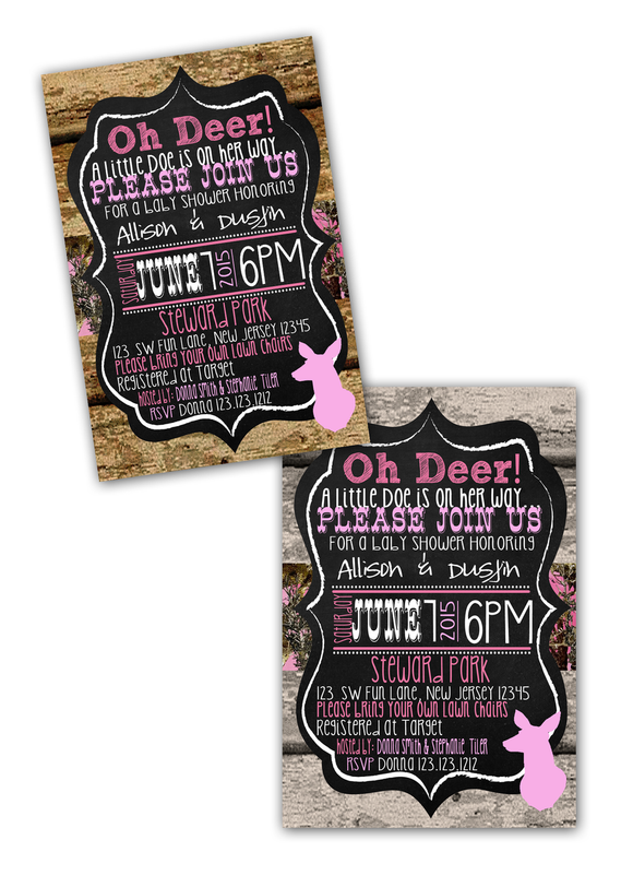 Doe Wood camouflage Baby Shower Invitations - Digital - Invitetique