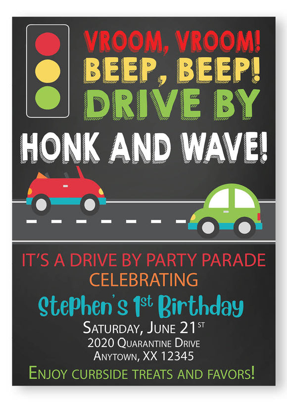 Drive by parade Chalk invitation - Digital