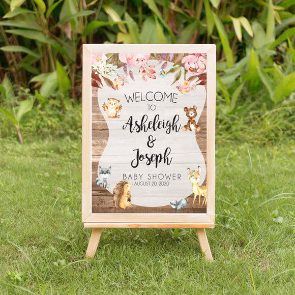 Enchanted woodland shower welcome signage