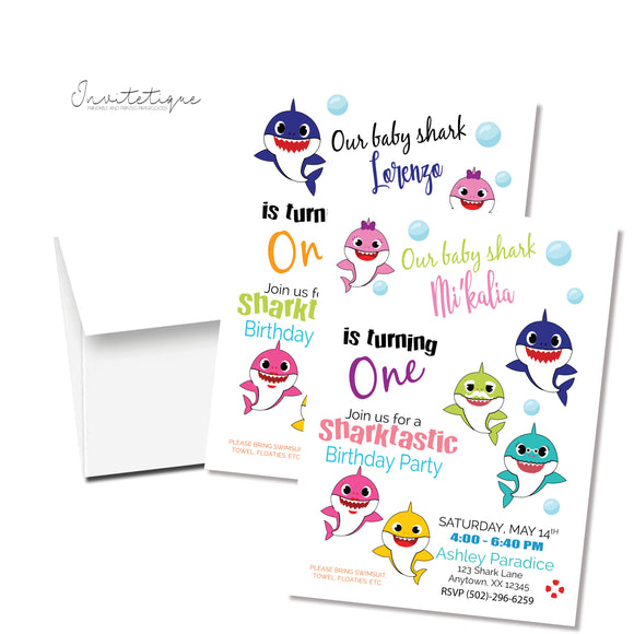 Family shark doo doo baby shark printed invitations