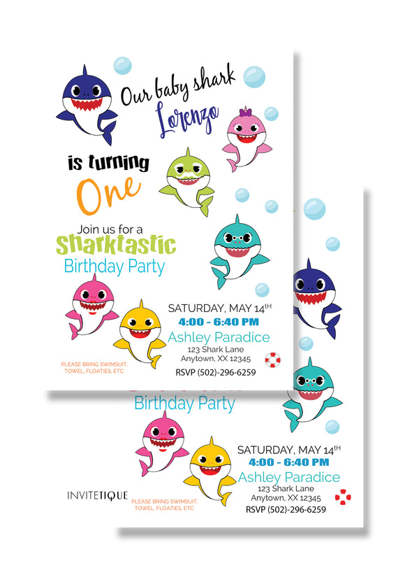 Baby Shark Family Birthday Invitation - PPD912 - Invitetique