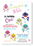 Family Baby Shark Birthday Invitation - PP910 - Invitetique