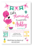 Flamingo Pool Birthday Party Invitations - IFL31 - Invitetique