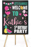 flamingo tropical birthday party sign, yard sign, personalized birthday sign