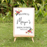 Bohemian floral wedding welcome sign
