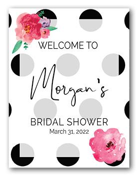 floral and polka dot welcome personalized sign