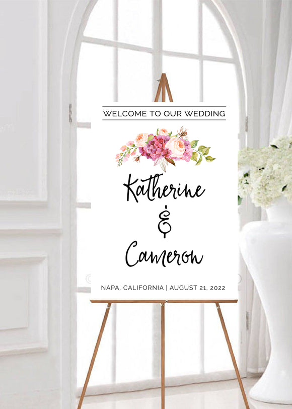minimal flower wedding party sign