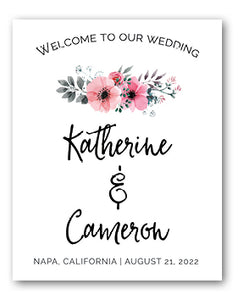 Pink flowers welcome wedding signage