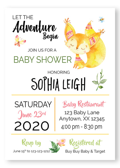 Foxy Girl Baby Shower Invitation - Invitetique