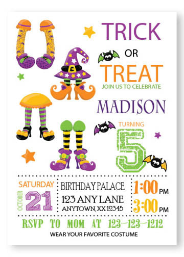 halloween happy feet invitation