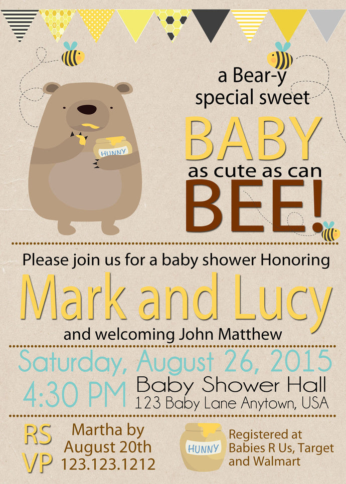 Honey on the way Bee baby Shower personalized invitations