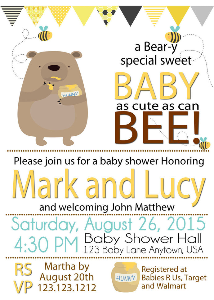 Honey on the way Bee baby Shower white personalized invitations