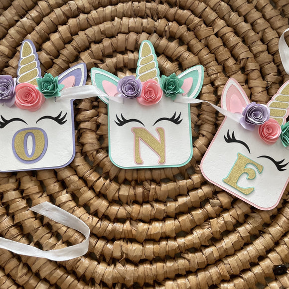 unicorn first birthday banner