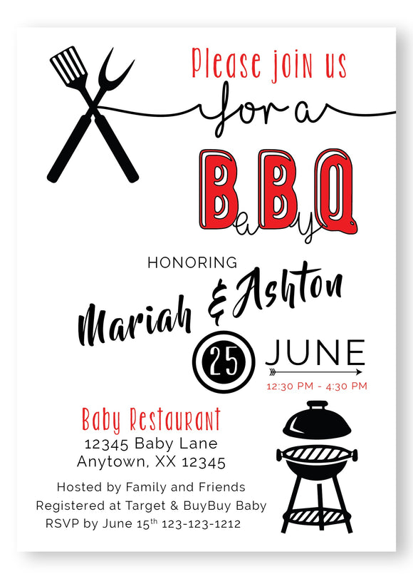 BBQ Baby Shower Invitation - Invitetique