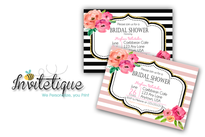 Black Stripe Gold Glitter Floral Kate Bridal Shower Invitations