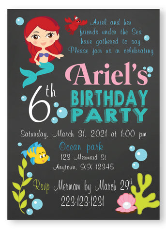Little Meramid chalk birthday personalized invitation, little mermaid invitation, personalized invitation