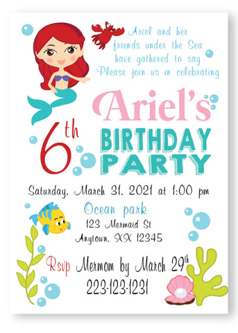 Litle Mermaid Ariel Invitation