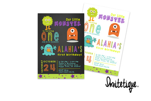 Little Monster Birthday Invitations for any age