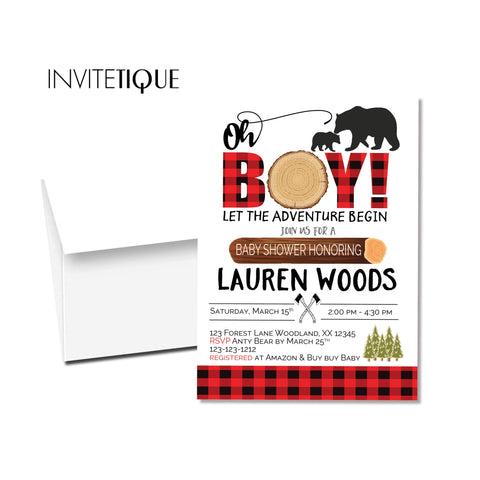 Lumberjack Baby shower gender neutral invitaton